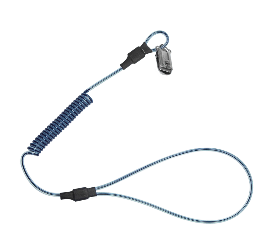 2 lb Stretch-coil Hard Hat Tether with choke-on cinch-loop and snap-clip, 18""
