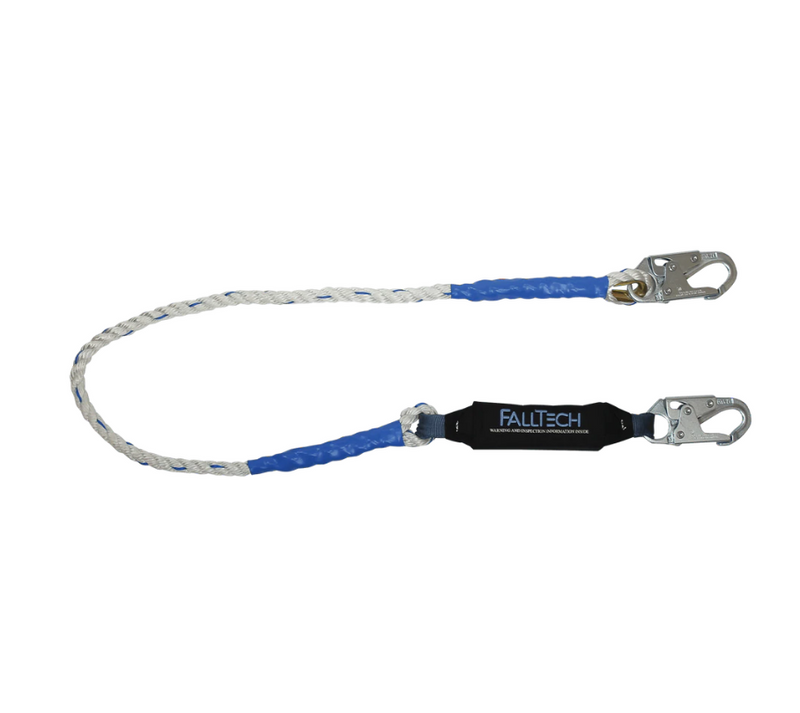 6' ViewPack® Rope Energy Absorbing Lanyard, Single-leg with Steel Snap Hooks