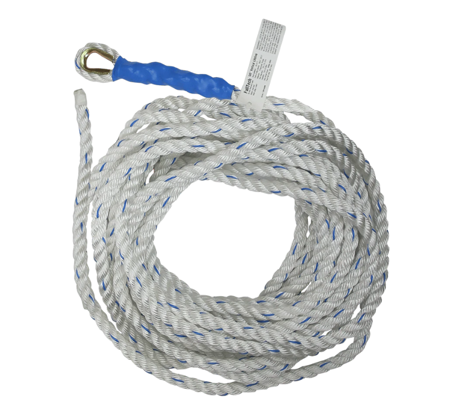 50' Premium Vertical Lifeline with Thimble-eye and Taped End