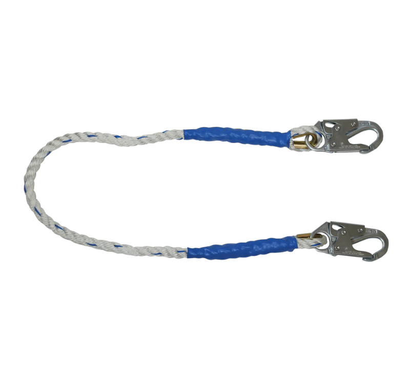 Rope Restraint Lanyard, Fixed-length with Steel Snap Hooks