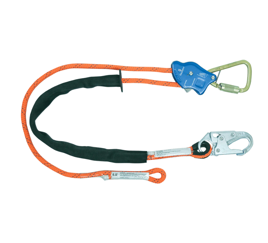 Tower Climber® Rope Positioning Lanyard with Aluminum Adjuster with Steel Snap Hook and Carabiner