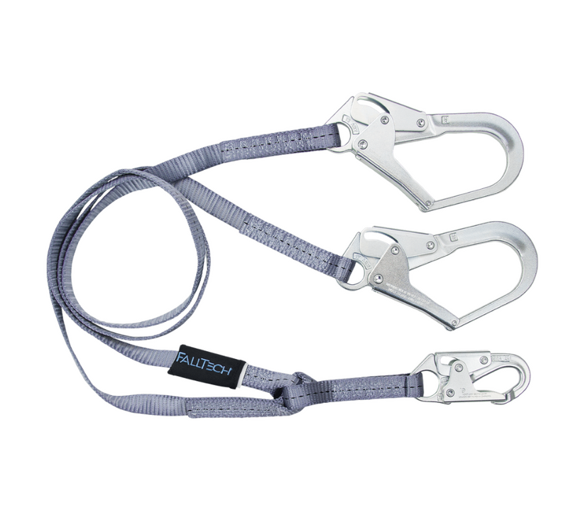 6' Web Restraint Lanyard, Double-leg Fixed-length with Steel Connectors