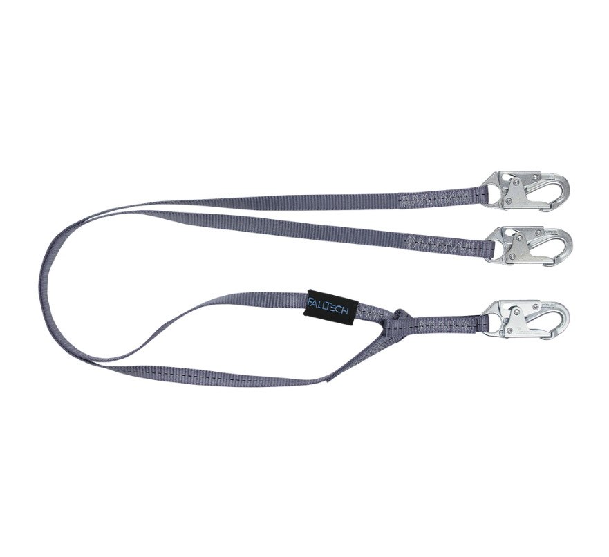 6' Web Restraint Lanyard, Double-leg Fixed-length with Steel Snap Hooks