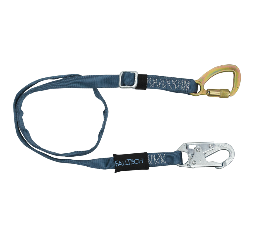 4' to 6' Adjustable Length Restraint Lanyard with Steel 5k Carabiner