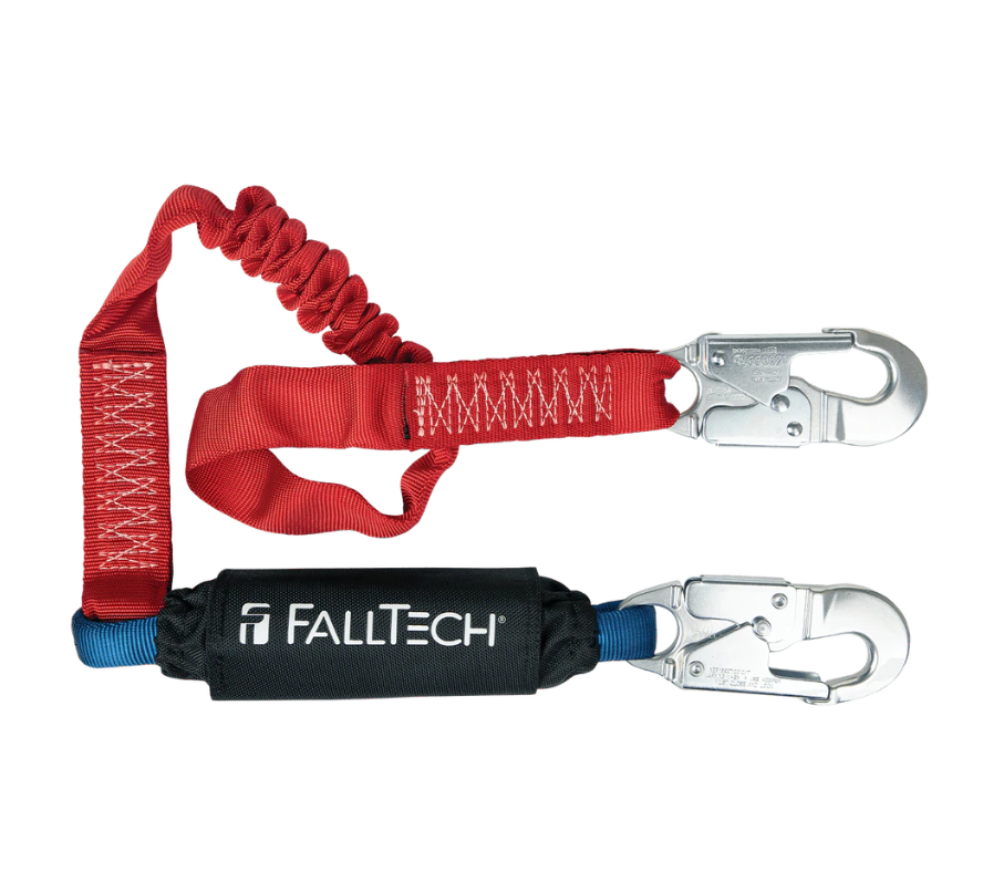 6' Ironman® 12' free fall Elasticated Energy Absorbing Lanyard, Single-leg with Aluminum Hooks