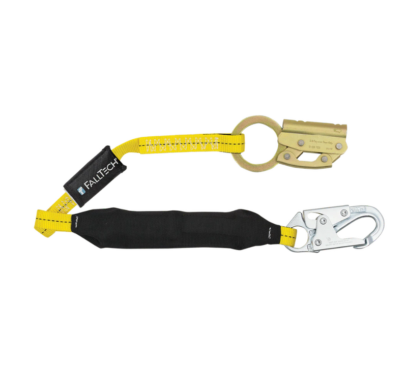 Manual Rope Adjuster with 3' FT Basic® Soft Pack Energy Absorbing Lanyard