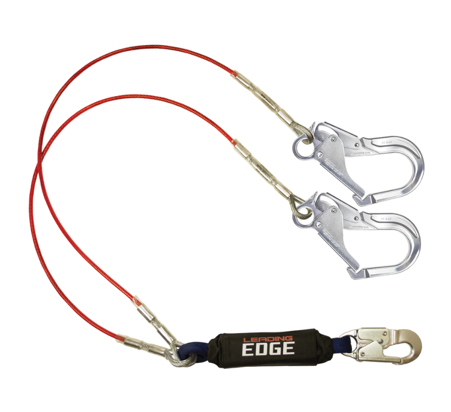 6' Leading Edge Cable Energy Absorbing Lanyard, Double-leg With Connectors