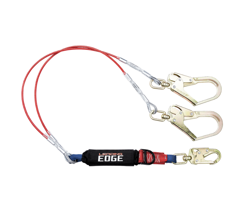 6' Leading Edge Cable Energy Absorbing Lanyard, Double-leg with SRL D-ring
