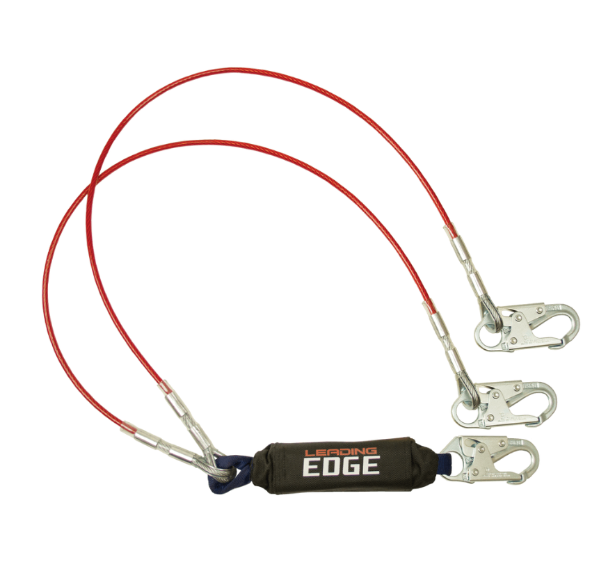 6' Leading Edge Cable Energy Absorbing Lanyard, Double-leg