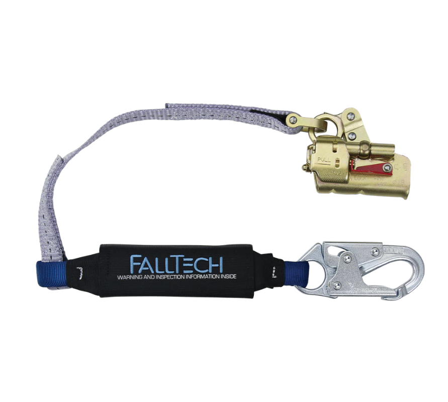 Trailing Rope Adjuster with Park Function and 3' ViewPack® Energy Absorbing Lanyard