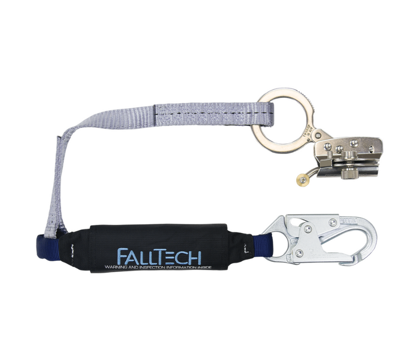 Hinged Trailing Stainless Steel Rope Adjuster with 3' ViewPack® Energy Absorbing Lanyard