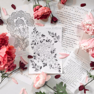 Peonies and Leaves Temporary Tattoo Bundle
