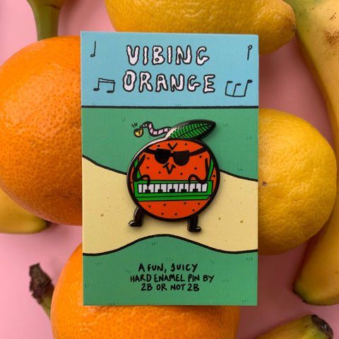 Vibing Orange Keyboard Pin –– 2B or Not 2B
