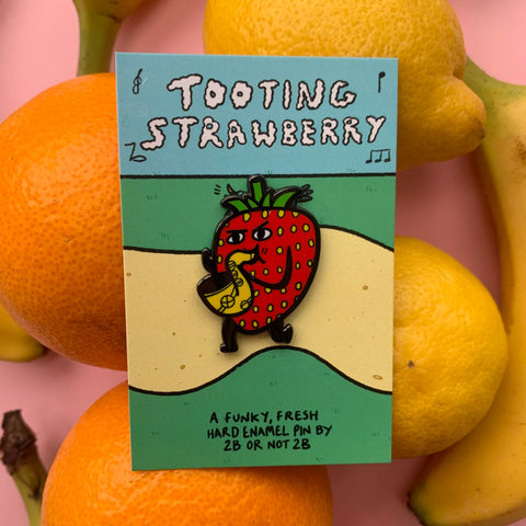 Tooting Strawberry Saxophone Pin –– 2B or Not 2B