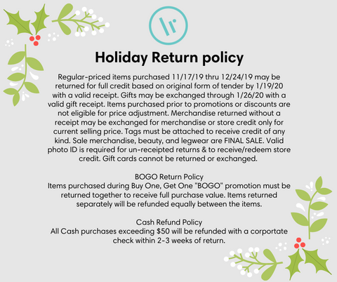 Lily Rain Holiday Returns Policy