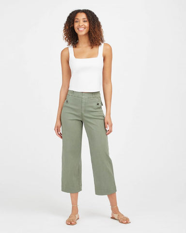 Stretch Twill Crop Wide Leg-Sage
