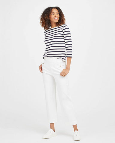 Stretch Twill Crop Wide Leg-White