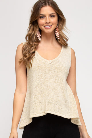 Amy Knit Sweater Tank-Natural