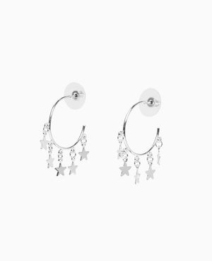 Glimmering Silver Stars Earrings