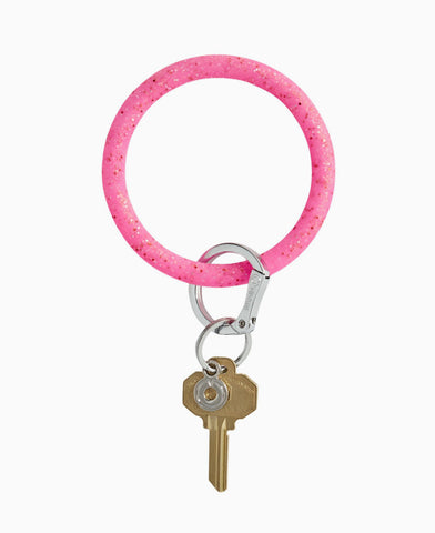 Tickled Pink Confetti Silicone O Key Ring