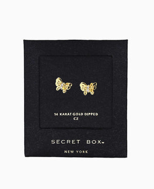 3D Butterfly CZ Earrings