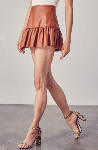 Chic Mini Skirt-Brown