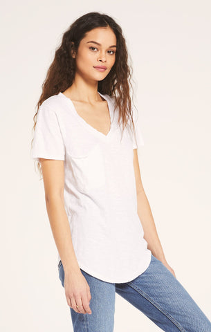 Cotton Slub Pocket Tee-White