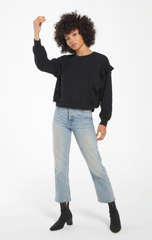 Freya Ruffle Top- Black