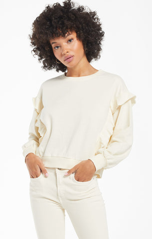 Freya Ruffle Top- Bone