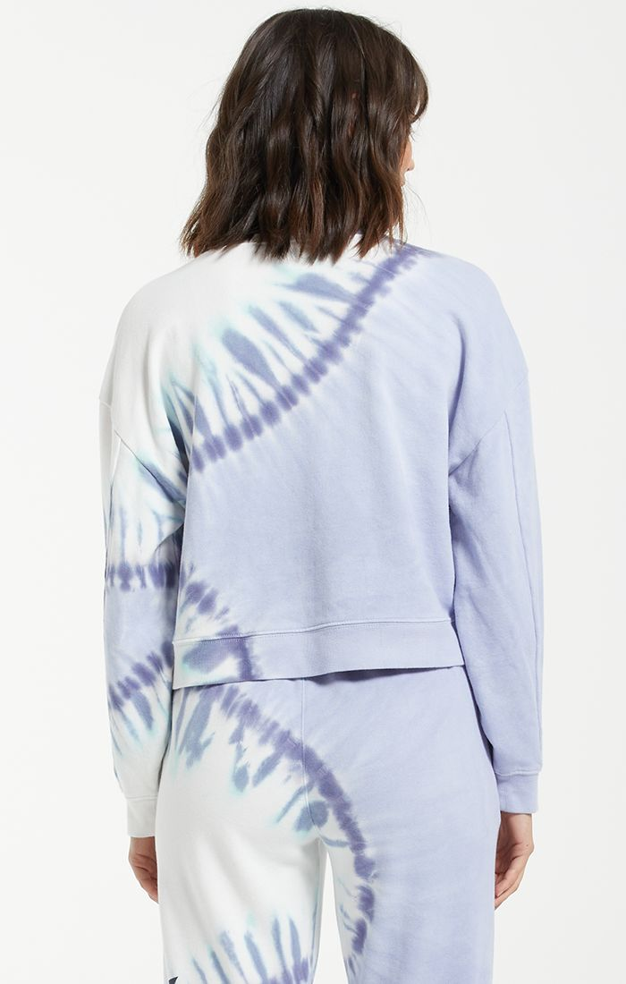 Sunburst Tie Dye Top- Ice Blue