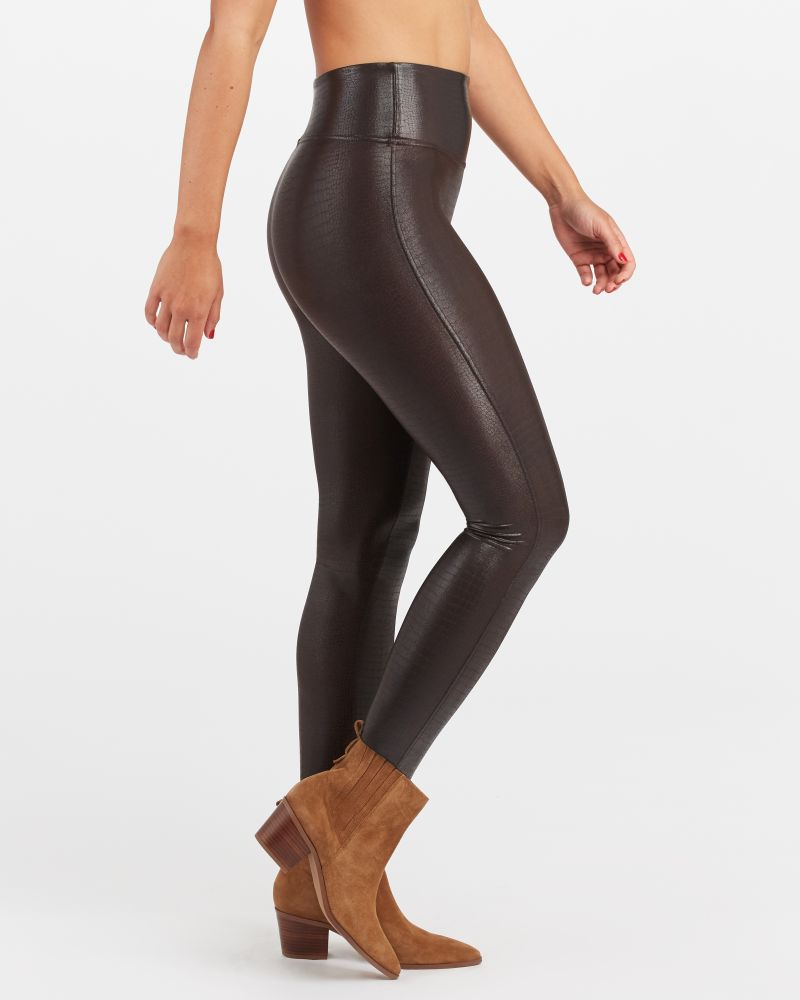 Croc Faux Leather Leggings-Spanx