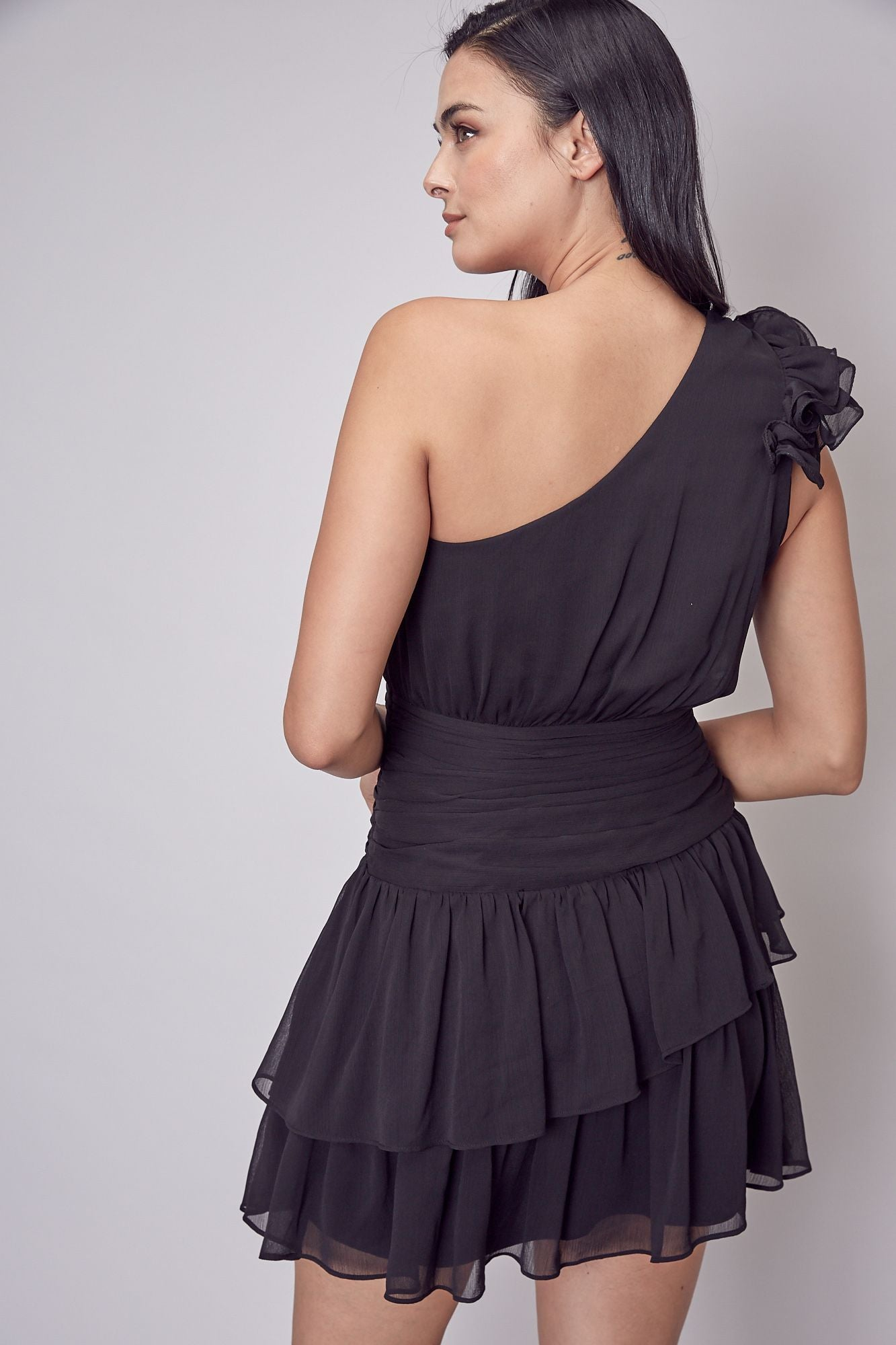 One Sleeve Ruffle Ruched Dress