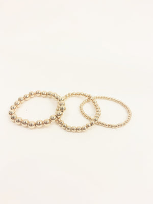 3 Set Gold Beaded Bracelet