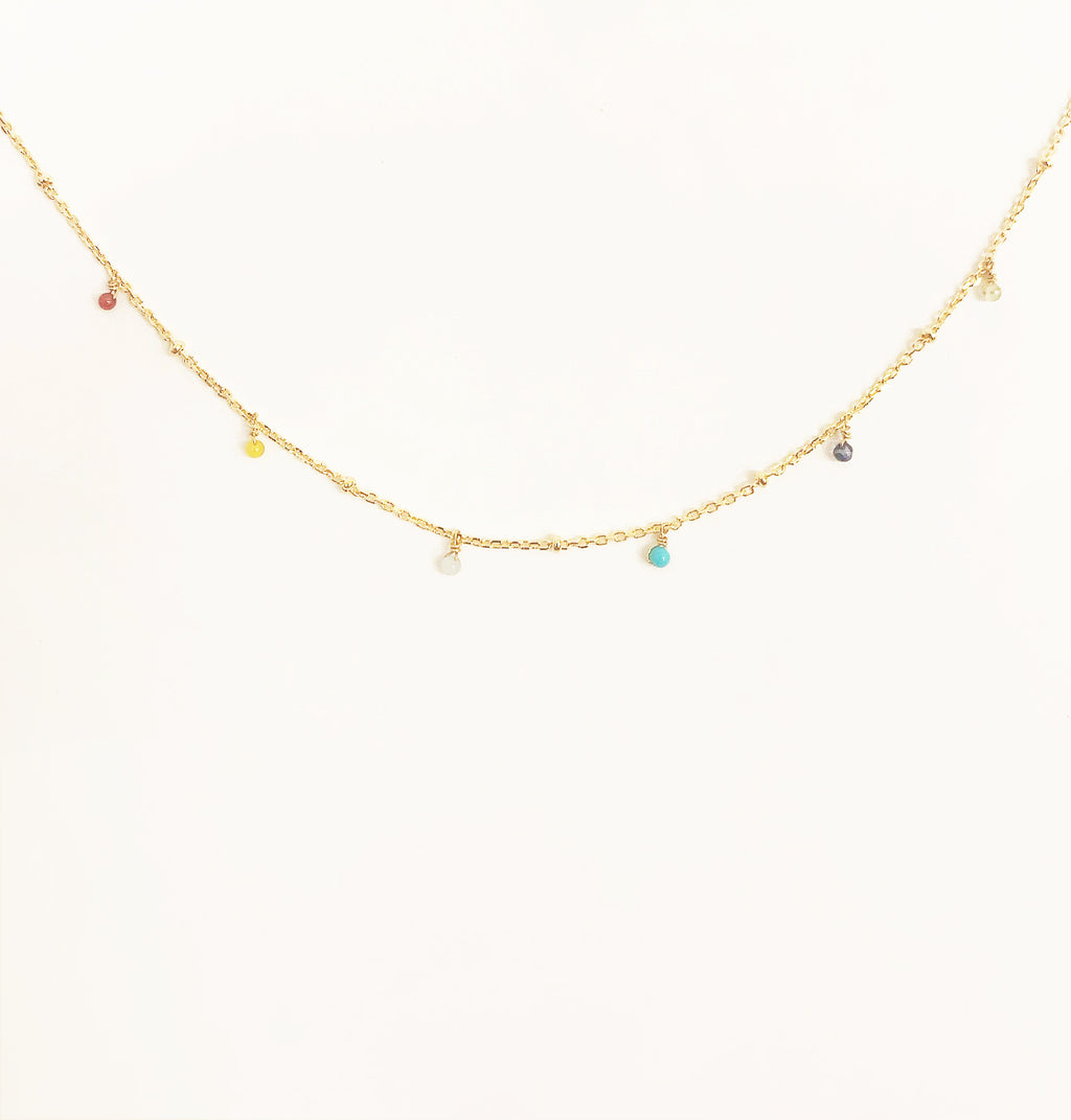 Multi-Color Beaded Chain Choker