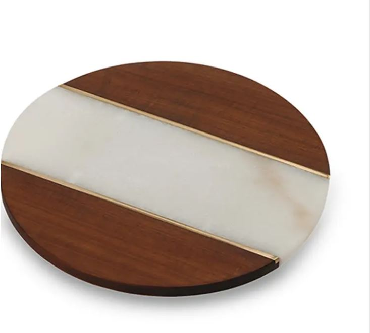 Marble & Wood Lazy Susan w/brass inlay