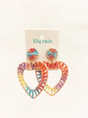 Multi-Color Thread Heart Rainbow Earring