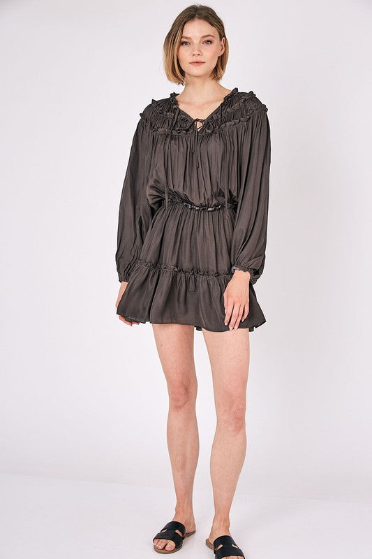 Tie Front Ruffled Mini Dress