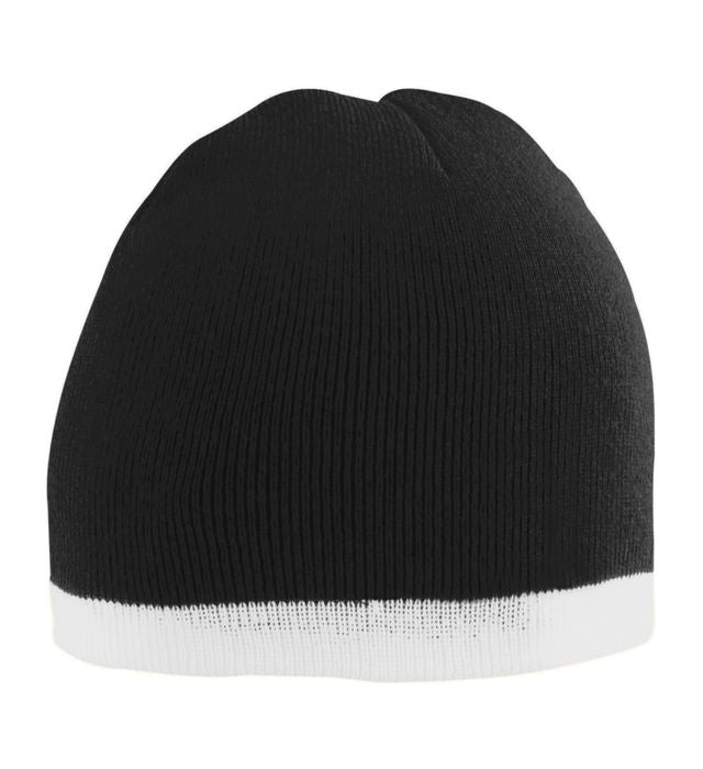 Black Two Tone Knit Beanie