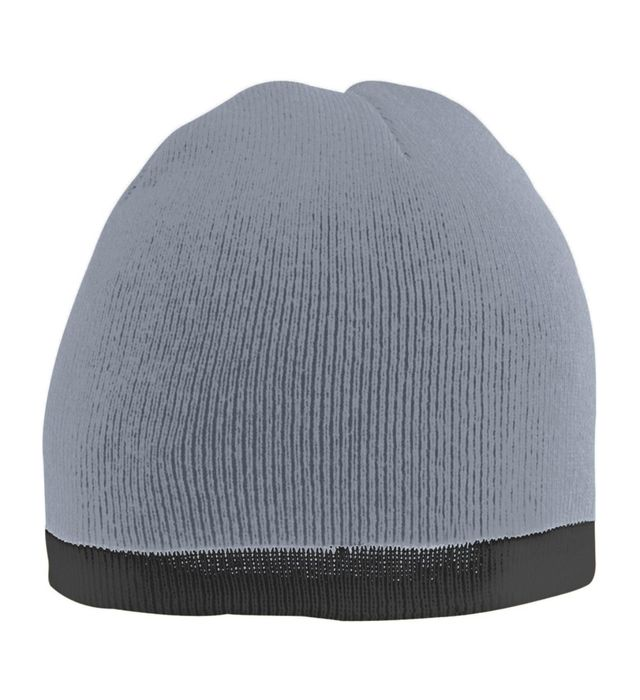 Grey Two Tone Knit Beanie