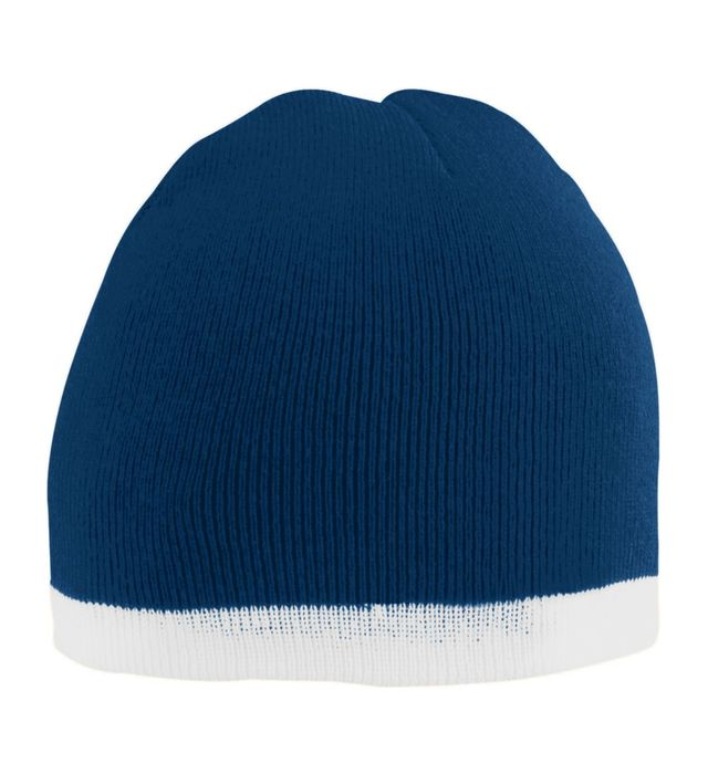 Navy Two Tone Knit Beanie