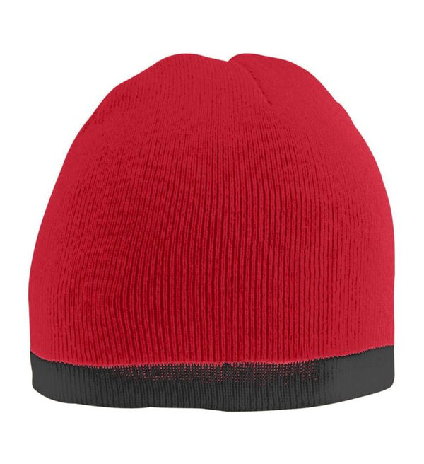 Red Two Tone Knit Beanie