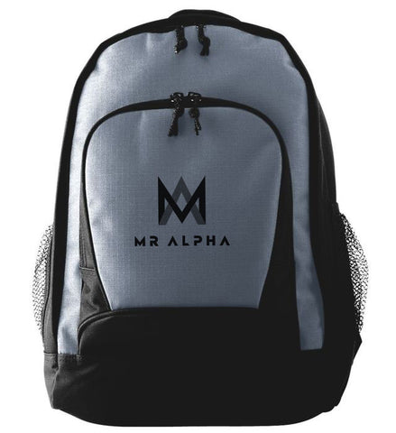 Two Compartment Grey Backpack With Side Pockets