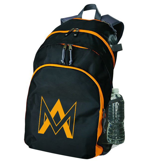 Three Compartment Black & Gold Backpack