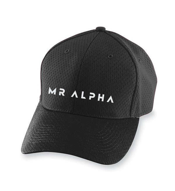 Black Six Panel Mesh Athletic Cap
