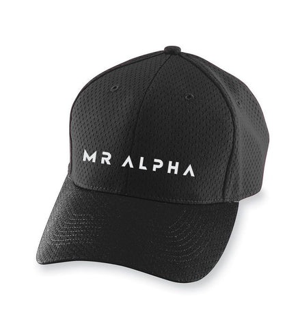 Six Panel Mesh Athletic Cap- Black