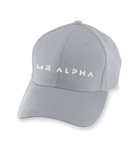 Six Panel Mesh Athletic Cap- Grey