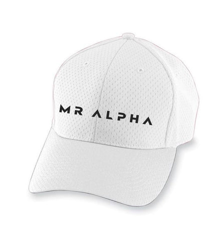 Six Panel Mesh Athletic Cap- White