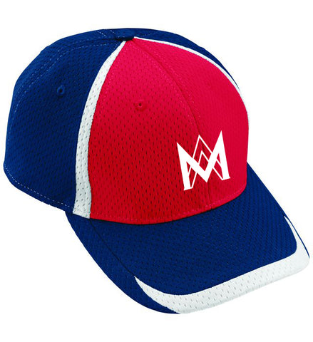 Athletic Mesh Baseball Cap - Navy/Red