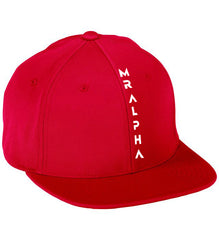 Six Panel Flat Bill Cap Red