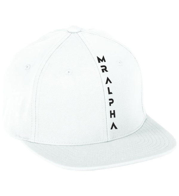 White Six Panel Flat Bill Cap